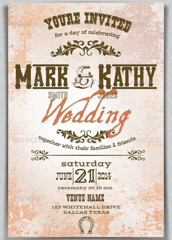 Western Style Wedding Invitation Psd Format