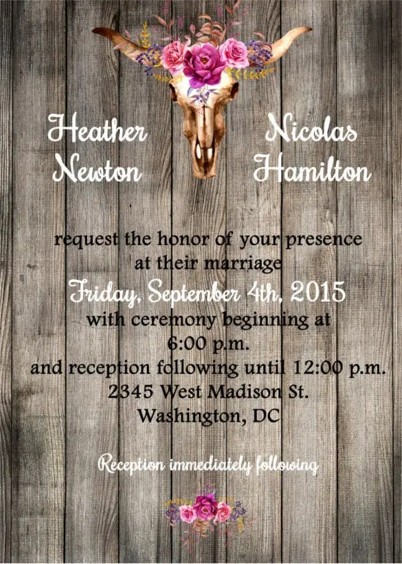 Western Wedding Invitations Rectangle Brown Red Cream Clic Unique Wording And Images Printable Casual Cowboy