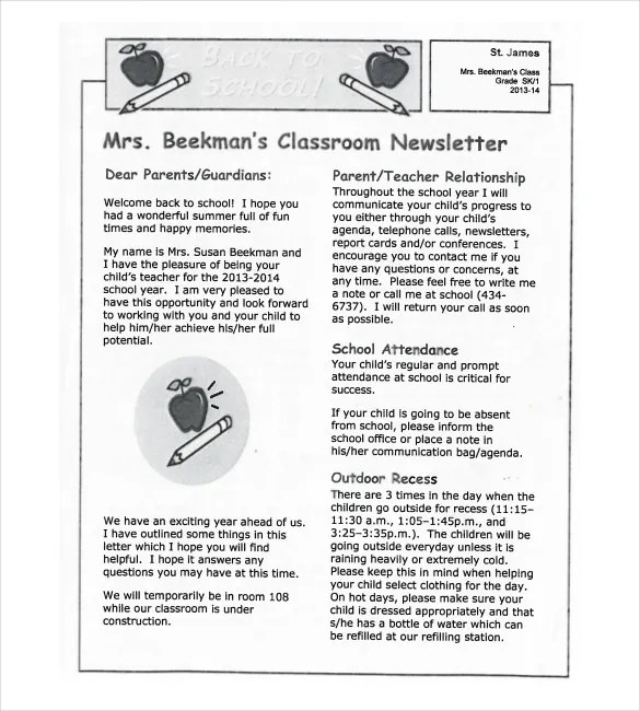 Parent Letter Scope Of Work Template Box Tops For