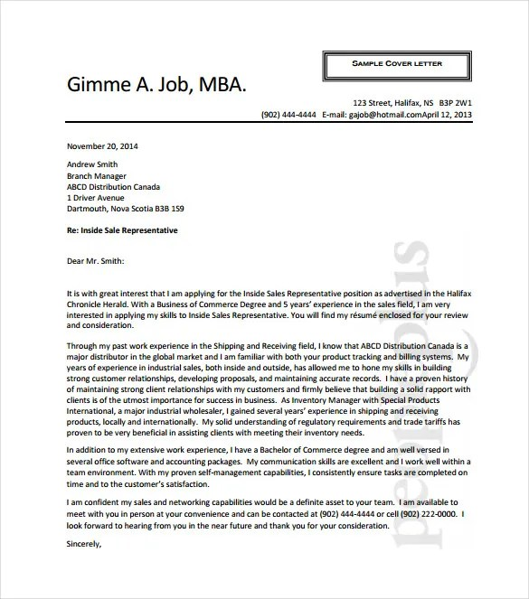 11 Sales Cover Letter Templates  Free Sample Example