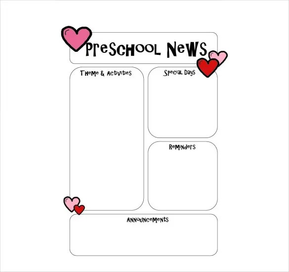 10+ Preschool Newsletter Templates