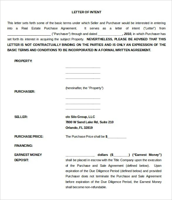 Free letter of intent to purchase agreement free letter for Letter of intent for real estate purchase template