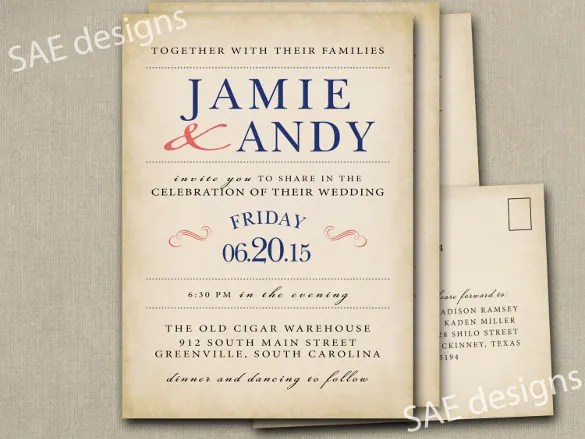 Rustic Navy Wedding Invitation Wording Template