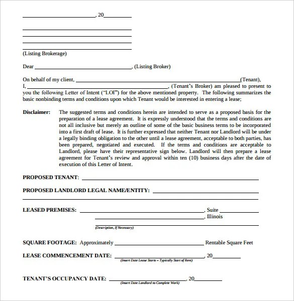 Doc575709 Letter of Intent Real Estate Intent to Purchase – Lease Letter of Intent Sample