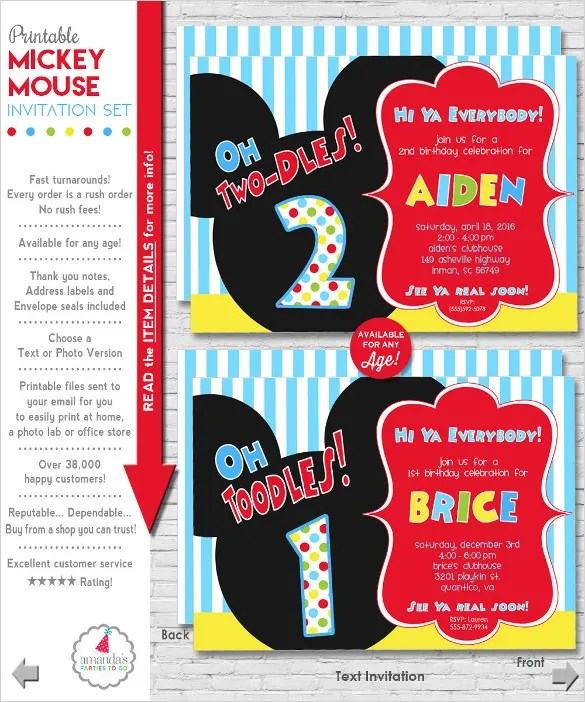 31 Mickey Mouse Invitation Templates Free Sample