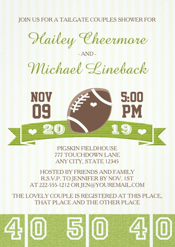 Football Tailgate Couples Wedding Shower Invitation