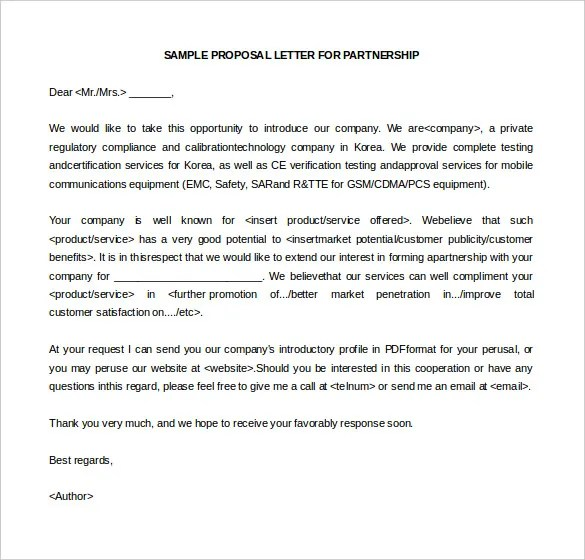Sample Business Proposal Letter For Partnership