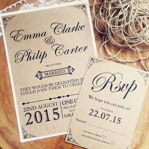 Handmade Rustic Wedding Invitation Template