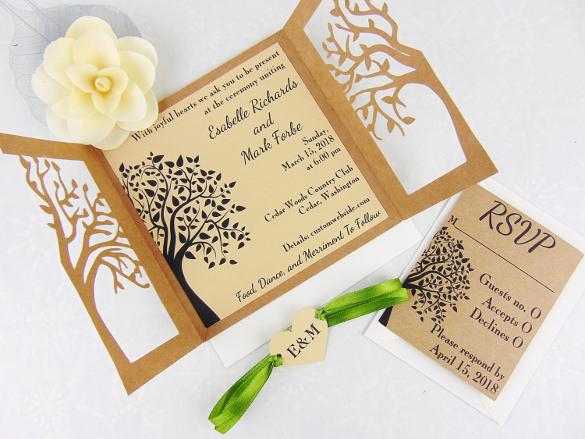 Laser Cut Tree Wood Rustic Wedding Invitation