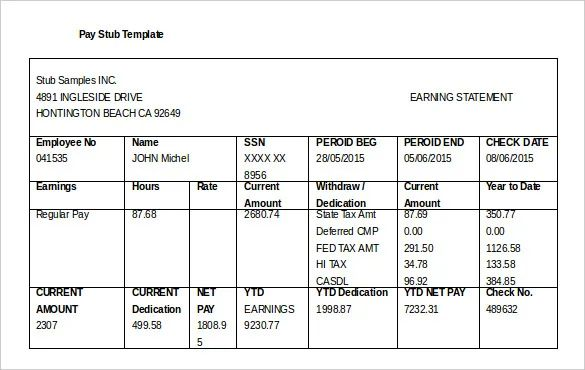 free downloadable pay stub template