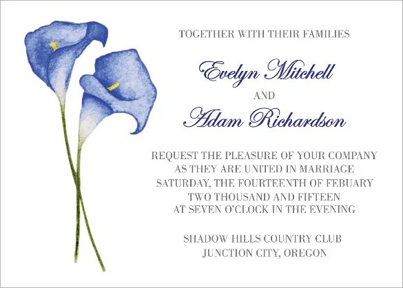 Beautiful Blue Calla Lilies Wedding Invitation Traditional Invitations 26 Psd Jpg Format