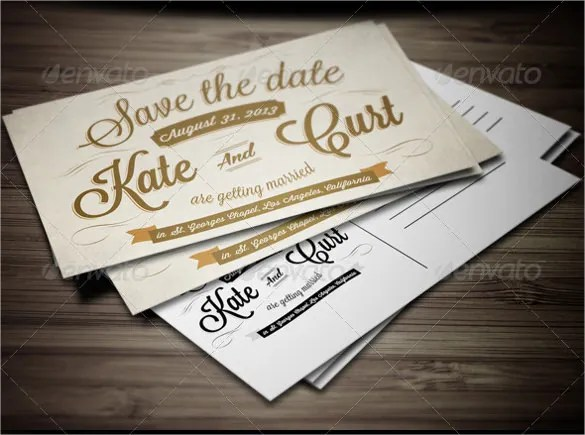 Vine Wedding Invitation Postcard Template Save The Date