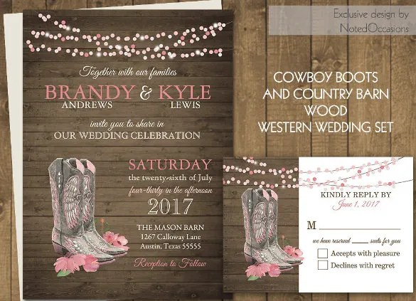 Western Wedding Invitation 19 PSD JPG Indesign Format