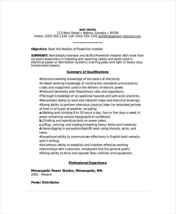 6 Lineman Resume Templates PDF DOC Free & Premium