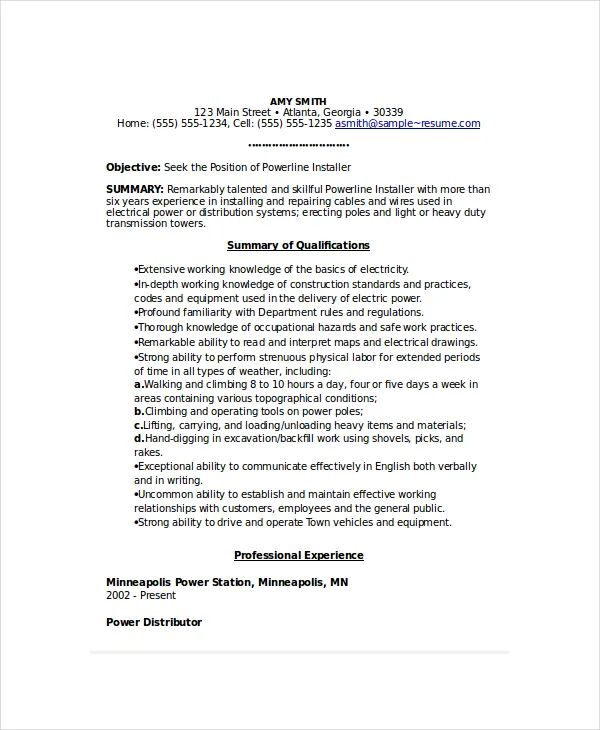 electric resume template