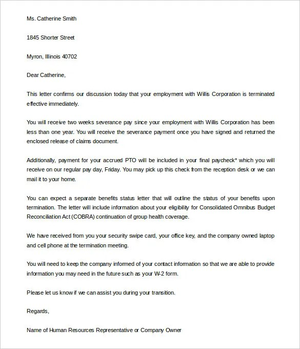 company termination letter - Kleo.beachfix.co