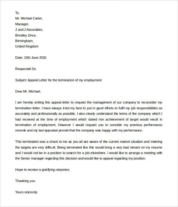 letter format formal appeal letter format free resume