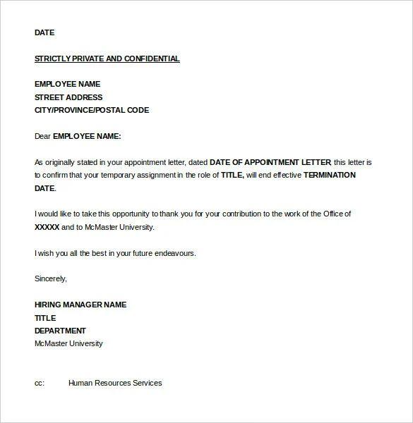 letter for firing an employee