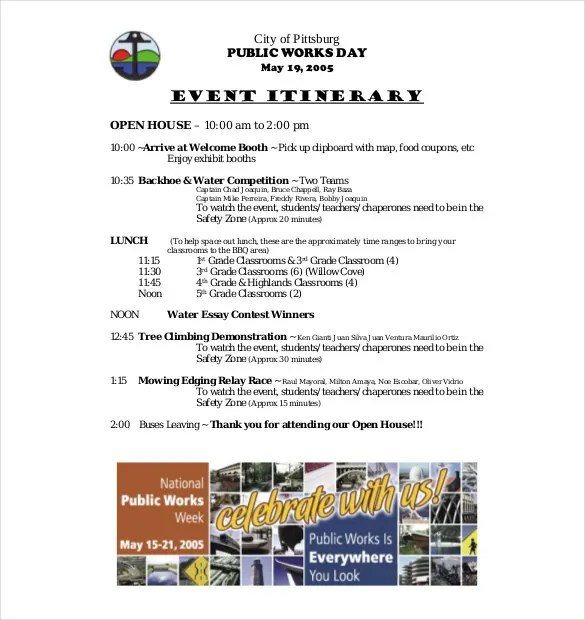 11 Event Itinerary Templates – Sample Example Format