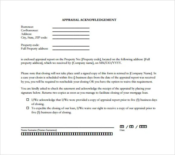 31 acknowledgement letter templates free samples examples format acknowledgementsample appraisal acknowledgement letters are generally to be signed by loan applicants to get the appraisal report of the expocarfo Image collections