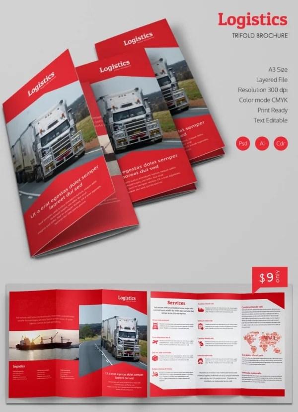 Print Ready Logistics A3 Tri Fold Brochure Template Free & Premium