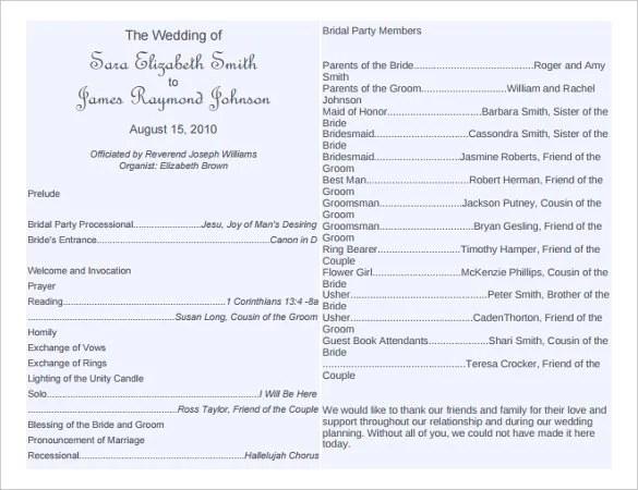 67 wedding program template