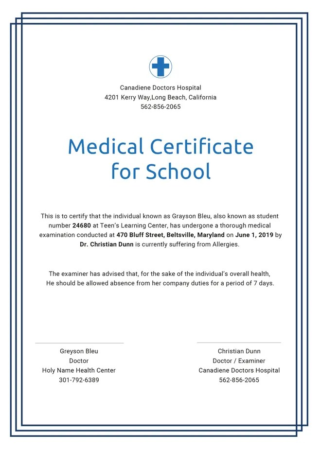 Free Medical Certificate Template For Leave Free