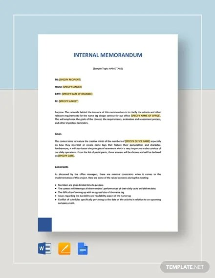 Contoh Memo Internal : contoh, internal, Internal, Template, Word,, Google, Documents, Download, Premium, Templates