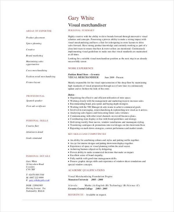 Merchandiser Resume Merchandiser Resume Example Sample Visual