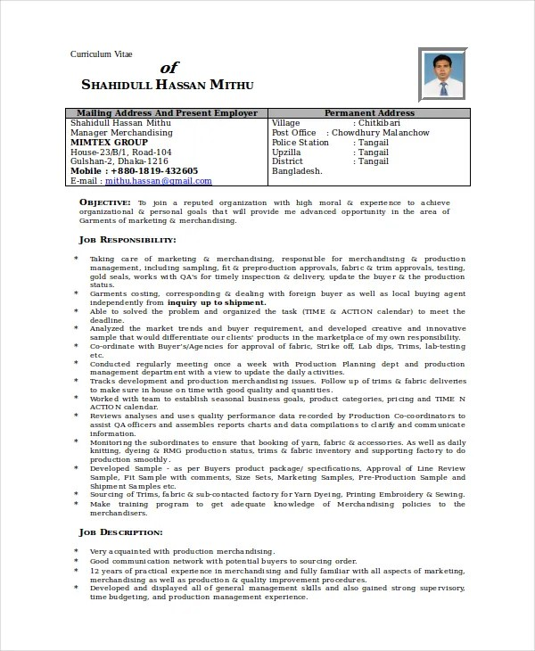 Merchandiser Resume Template 7 Free Word PDF Documents