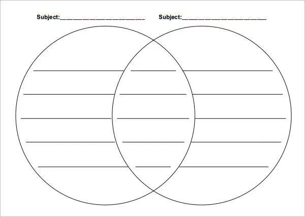 printable venn diagram 2 circles with lines