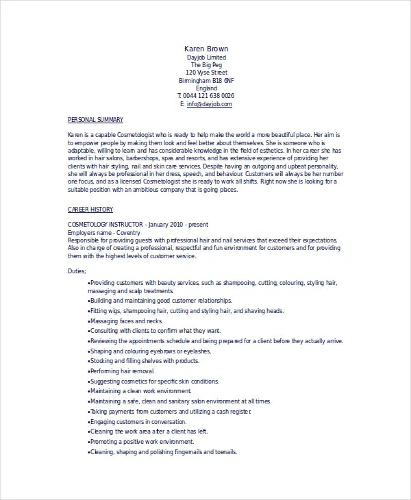Resume For Cosmetology Student Resume Sample