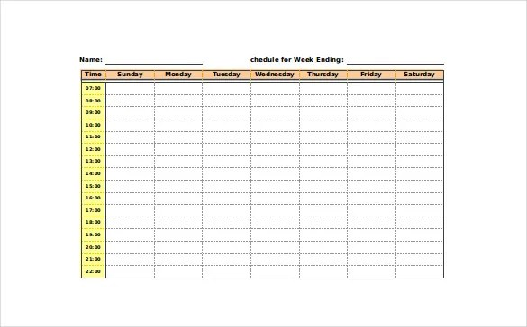 Blank Schedule Template 23 Free Word Excel PDF Format Download Free Amp Premium Templates
