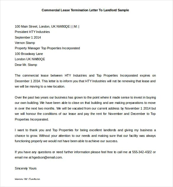 rental lease termination letter