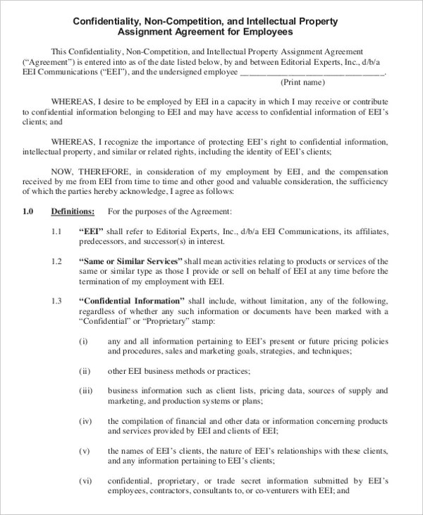 Non Disclosure Agreement After Resignation Template Resume