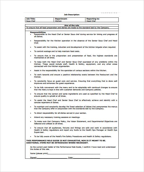 sous chef job description pdf
