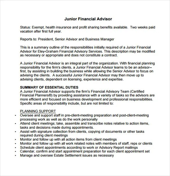 7 Financial Advisor Job Description Templates  Free