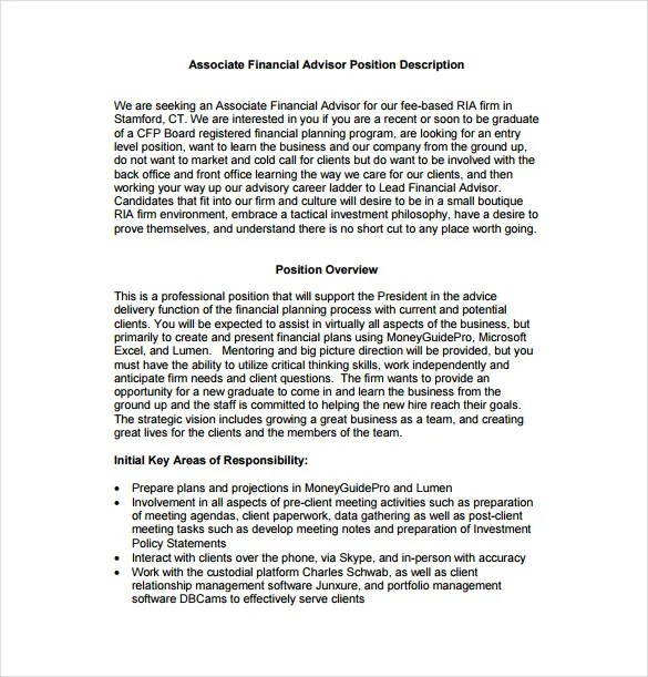 7 Financial Advisor Job Description Templates – Free