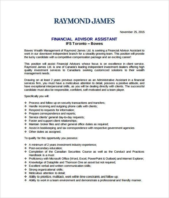 7 Financial Advisor Job Description Templates  Free Sample Example Format Download  Free