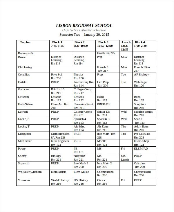 free school master schedule template