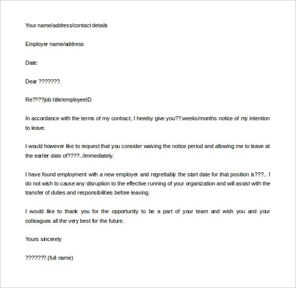 3 Simple Resignation Letter With Notice Period – Resignation Letters No Notice
