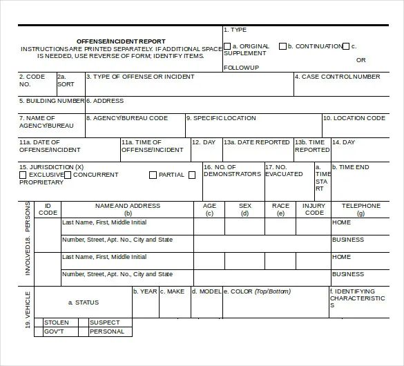 police incident report form template
