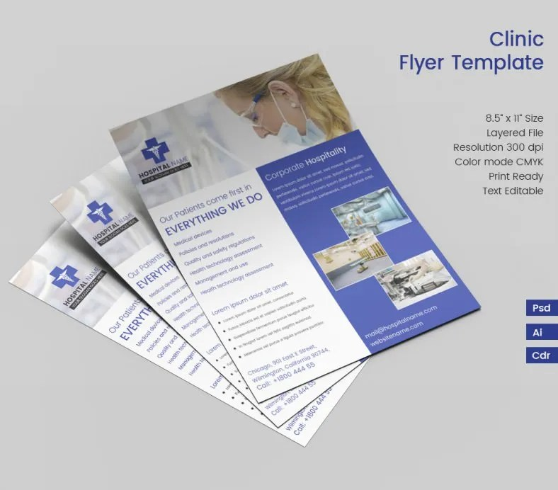 Ideal Clinic Flyer Template Free Premium Templates