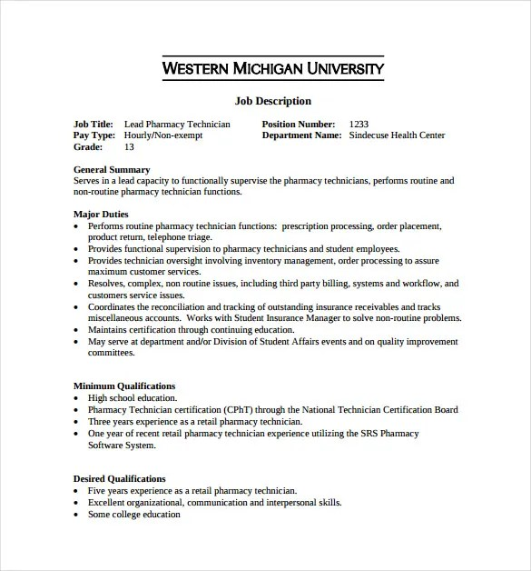 Pharmacy Technician Job Description For Resume Hospital