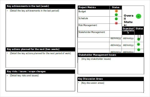 weekly status report template ppt