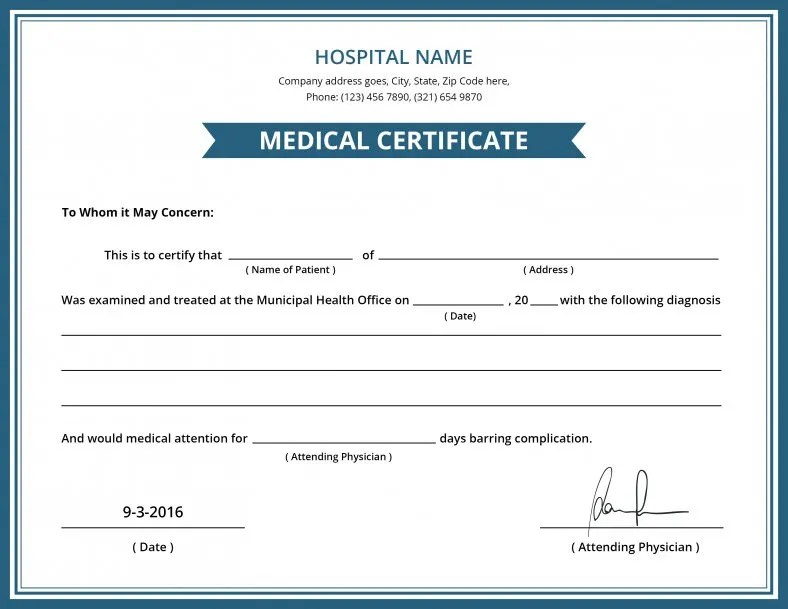 Medical Certificate Template Free Image Collections Certificate Medical  Certificate Templatexampleunicloud Free Hospital Medical Certificate  Template Free  Medical Certificate Template