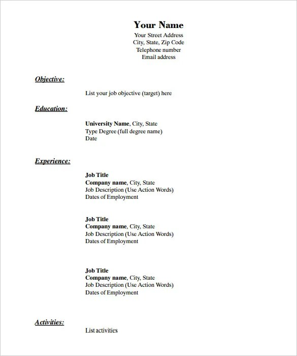 40 Blank Resume Templates – Free Samples Examples Format