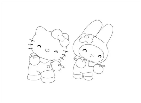 Hello Kitty Coloring Page 10 Free Psd Ai Vector Eps Format Download Free Premium Templates