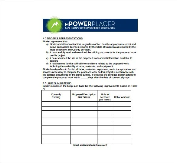 Bid Sheet Template - 10+ Free Word, PDF, Documents Download | Free ...