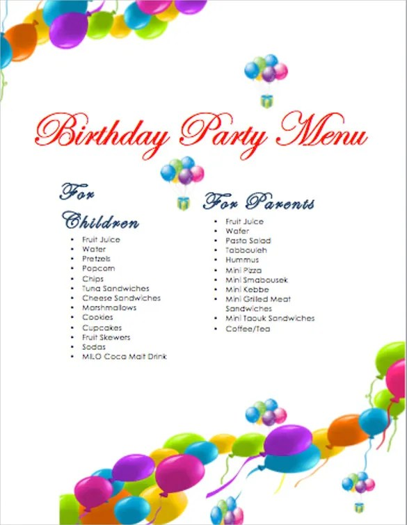 Birthday Menu Templates  19+ Free Psd, Eps, Indesign